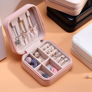 Travel Jewelry Box Organizer PU Leather Display Storage Case For Necklace Earrings Rings Jewelry Holder Gift Case Storage Boxes RRA3567
