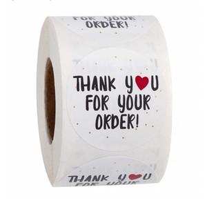 Круглый Спасибо за ваш заказ наклейки белые этикетки наклейки сердца Спасибо за покупки маленький магазин местные подарочные упаковочные наклейки DHL бесплатно 2016