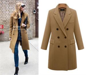 Précarisés Loose Blends Manteaux d'hiver Laine Femmes Manteaux longs Plus Size Lapel manches longues de couleur unie épais dames