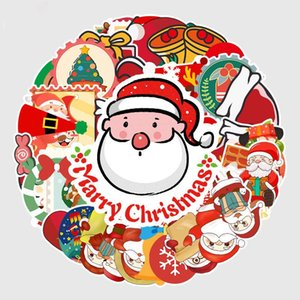 New Year Christmas Creative Sticker Poster Wall Scooter Reusable Waterproof Sticker Children DIY Cartoon Sticker Party Gift DHC2458