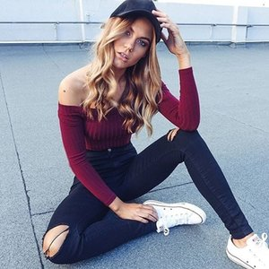 Hot Sale Autumn new off shoulder crop top t shirts hot sale long sleeve solid short t-shirts for women clothing fashion slim t-shirt