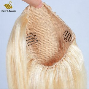 613 Blonde Hair Extensions Drawstrinig clip in Ponytail Human Hair Cuticle Aligned Thick Remy Hair 12-28inch