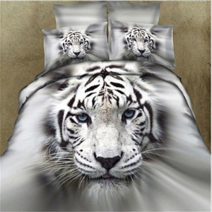 32 3Pcs 4pcs Fashion 3D Lifelike White Tiger Cotton Bedding Set Duvet Cover Bed Sheet with Pillowcases Twin Queen King Size 30E