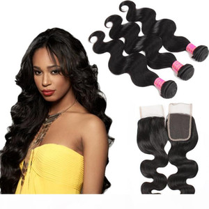 Wholesale 8A Brazilian Virgin Hair With Closure Extensions 3 Bundles Peruvian Body Wave With 4x4 Closure Unprocessed Virgin Human Hair Weave