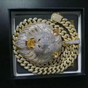 Para hombre Hip Hop joyería hacia fuera helado colgante collar de cuero de lujo del diamante de Bling Cuban Link cadena colgantes grandes del animal del león de rap Accessories34