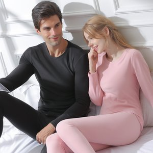 Men Skin-Friendly Thermal Underwear Women Long Johns Suits Ground Wool Heating Cotton Undershirt