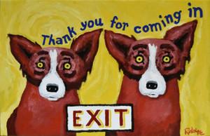 George Blue Dog Rodrigue Red Dogs Decoração pintado à mão HD impressão pintura a óleo sobre tela Wall Art Canvas Pictures 200909