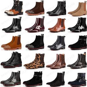 حار الأزياء نمط جديد أحمر القيعان حذاء الرجال التمهيد المسامير الجلد المدبوغ الجلود الأحمر الوحيد أحذية الرجال سوبر مثالي البطيخ دراجة نارية الكاحل التمهيد للرجال