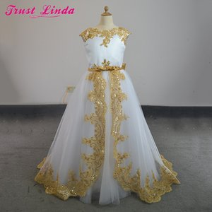 Romantic A Line Gold Lace Bow Beading Sequined O-Neck Weddings Girl Flower Girl Dress Party Communion Dress Pageant Gowns