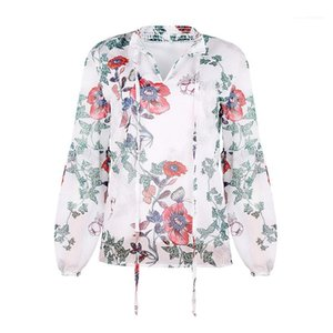 Fashion Floral Pattern Natural Color Shirt Casual Lapel Neck Long Sleeve Shirt Woman Clothes Women Shirts