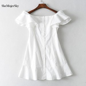 Party Dresses SheMujerSky White Off Shoulder Dress Women Summer Sexy Slash Neck Mini Lining With Buttons 2021