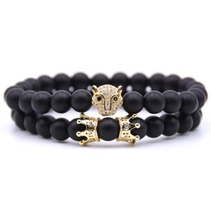 Hot Selling Couple Beaded Charm Bracelet Sets Fashion Jewelry Natural Stone Animal Head Crown Elastic Bracelets For Men Women