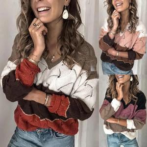 Женские вязаные тройники плюс размер женщин осень зима V шеи с длинным рукавом цветной блок вязаный свитер полые перемычки
