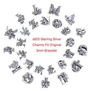 Codemonkey 100% 925 Sterlingsilber-Brief 26 Alphabet-Korn-Charme-passende Charme-Armband-Armbänder DIY Zusatz-Schmucksachen C030-O