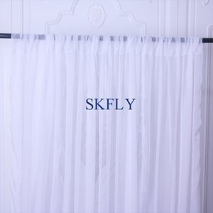 BC002D wholesale price in stock background curtain photography panels plain pure white sheer voile backdrop with rod pocket