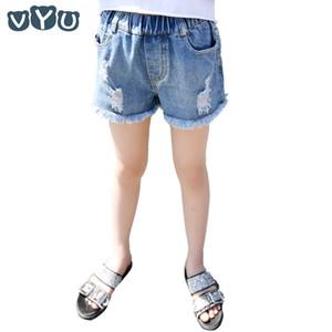 VYU KidsTeenagers Mädchen Jeans-Shorts Jeans 2020 Sommer-Mädchen-Tassel Loch Denim-kurze Hosen Mid-Rise Elastic Kinder Shorts