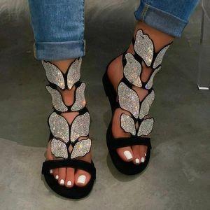 2020 Mulheres Sandals Dropship Verão Rhinestone Sandals Foam Sole Durable Ladies Outdoor Praia Feminino