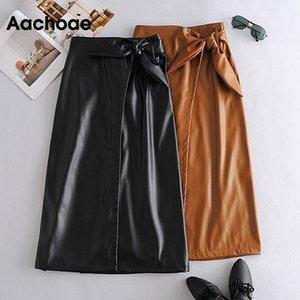 Aachoae Elegante Ecopelle Solid Gonna Papillon indossare in ufficio Gonna lunga le donne Brown e nero a colori Una linea Gonne Mujer Faldas