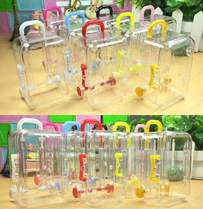 Mini Rolling Travel Suitcase Candy Box Baby Shower Wedding Favors Acrylic Clear Party Table Decoration Supplies Gifts Free shipping