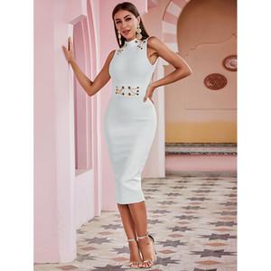 Fabricante Mujer mediados de longitud vestido de noche blanco puro inteligente Señora Backless atractivo del vestido de Jersey