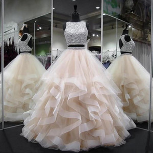 Two Pieces Crystal Beading Backless Ball Gown Quinceanera Dresses Plus Size Sweet 16 Dresses Debutante 15 Year Formal Party Dress