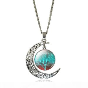Wholesale Tree Of Life Glass Cabochon Pendant Necklace Moon Accessories Vintage Silver Statement Chain Necklace Women Jewelry