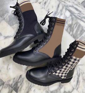 Stivali da donna Black Rockoko Combat Boots Designer Sock Martin Boot Real in pelle Stivaletti in pelle Lace-up Maglia Scarpe da calza 9 colori Buona qualità