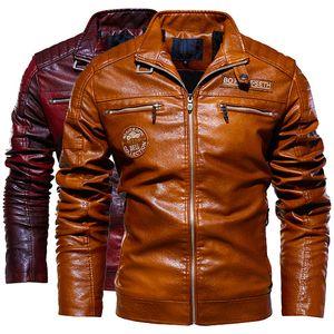 dos homens Sobretudo de pele masculino suporte Jacket Collar Zipper bordado Pu Leather Jacket de homens motocicleta roupa solta macia Pu 209