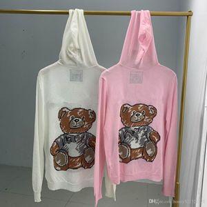 2020 été automne nouvel ours mignon femmes design de mode lettre ThinPrint cardigan chandail à capuchon en tricot de soie glacée manteau crème solaire dessus