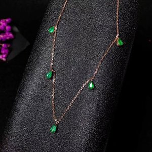 Natural green emerald necklace Pendant S925 silver natural gemstone necklace grace chain Water drop woman girl gift jewelry