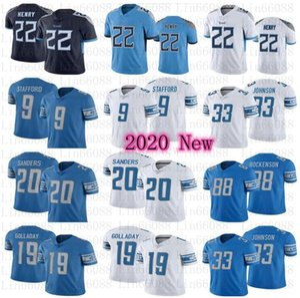 2020 Мужчины ДетройтЛев 20 Барри Сандерс Мэтью Стаффорд Hockenson Kerryon Johnson Titan22 Деррик Генри Джерси