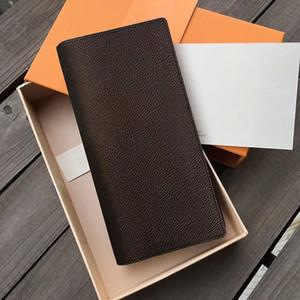 محفظة أعلى جودة برازا طويل أزياء الرجال عملة المحفظة ريال جلدية قبضة حامل امرأة محافظ بطاقة الائتمان الرئيسية مع صندوق M66540