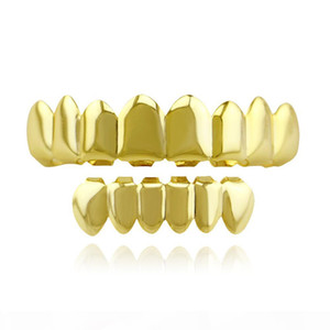4 Color Grillz 8 Teeth Top and 6 bottom Grills Set With Silicone Model Vampire Hip Hop Jewelry