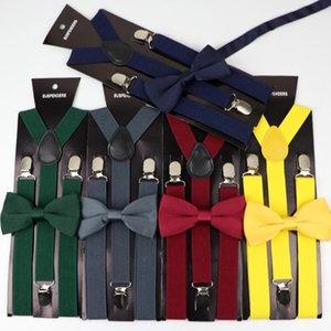 Soild Color Man's Belt Polyester Bowtie Set Men Women Suspenders Polyester Y-Back Braces Two Colors Bow Tie Adjustable Elastic