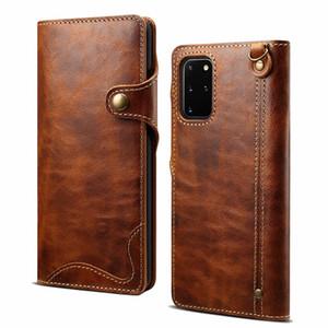 Из натуральной кожи Складной флип бумажник чехол карты Слоты и ручной ремни Защитная крышка для Samsung Galaxy Note 20 Ультра s20 Plus Примечание 10+ Plus