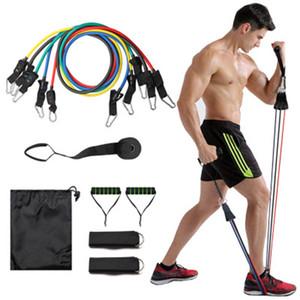 11pcs direnç bantları direnç bandı seti 11 parçalı set çekme halatı fitness ekipmanları kiti fit donatmak eğitim tatbikatı yoga yukarı çekin