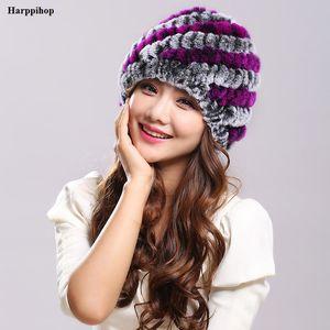 Echte Frauen strickte Rex Pelz Hüte TONFUR Natur Streifen Rex Pelz Caps Dame Winter warm Kopfbedeckung H-21101