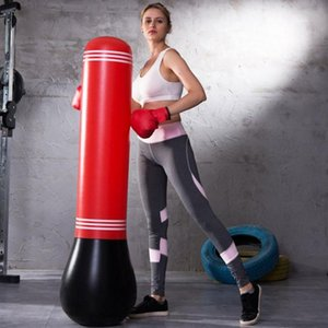 Pressão Fitness Formação Vertical inflável Boxing Bag Tumbler Muay Thai formação Relief Voltar Saco de Areia Com Air Bomba espessamento