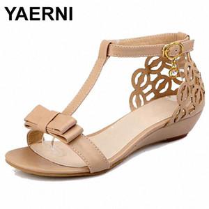 YAERNI2020Large Size 34 43 Women Wedge Sandals High Quality Rhinestone Fretwork Buckle Strap Elegant Sweet Summer Shoes CuteE952 NVri#