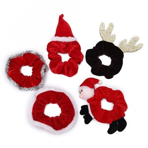 Ins Christmas Cartoon Hair Rope Scrunchies Ponytail Holder Plush Elastic Hairbands Xmas women Girls Hair Accessories party Gifts headwear