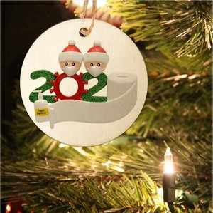 8cm Круглого 2020 Карантин семья рождественских украшений DIY Вуд карта Xmas Tree Сант Висячего Подвески партия украшение SEA SHIPPING LJJP538