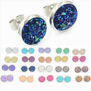 cluster di cristallo orecchini resina diamante handmade earringsStud 12mm minerale inossidabile stelle kUFsZ 12MM acciaio ammasso resina minerale stella