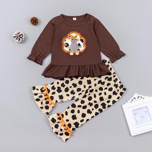 Thanksgiving Baby Outfits Children Letter Embroidery Top + Leopard Print Flare Pants 2Pcs Set Autumn Boutique Kids Clothing Sets M2743