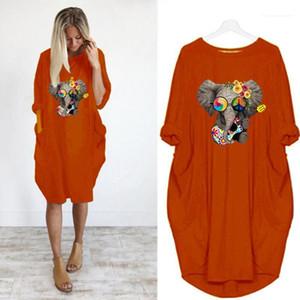 Summer Lond Dresses 5XL Elephant Animal Printed Womens Designer Dresses Solid Color Oversize Long Sleeve Round Neck Dresses Loose