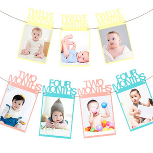 12pc set Vintage Craft Paper Photo Frames Photo Frame for Baby Rope and Foam Home Decor DIY Birthday Party Decor