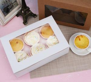 2020 fenêtrés Boîtes de petit gâteau blanc Brown Kraft Paper Box Emballage cadeau pour Fête de mariage Party 6 Coupe gâteau Détenteurs personnalisée DHL