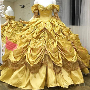 Gorgeous Yellow Quinceanera Dresses Off The Shoulder Princess Taffeta gothic Ball Gown Ruffles Skirt Sweet 16 18 Prom Dresses Custom