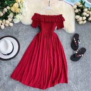 2020 new style Women Summer Dresses Plaid Slash Neck Off Shouder Solid Vestidos 2020 Ruffles A-line High Waist Dress Robe Femme 11767