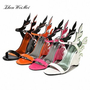 Women Wedges Sandals High Heels Sandals Casual Shoes Woman Large Woman Gladiator Newest Orange Flame Wings Y5Rg#