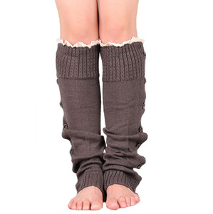Warm Knitting Leg Sleeves Knee High Socks Knit Boot Cuffs Foot Warmers Long Stockings Women Ladies Button Lace Booties Sleeves OOA9102